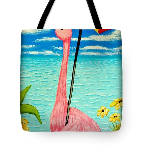 Flamingo Takes A Holiday Tote Bag by Tim Townsend