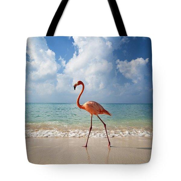 Flamingo Walking Along Beach Tote Bag