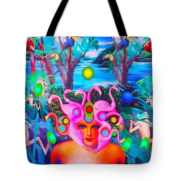 Flamingodeusa In The Neon Jungle Tote Bag