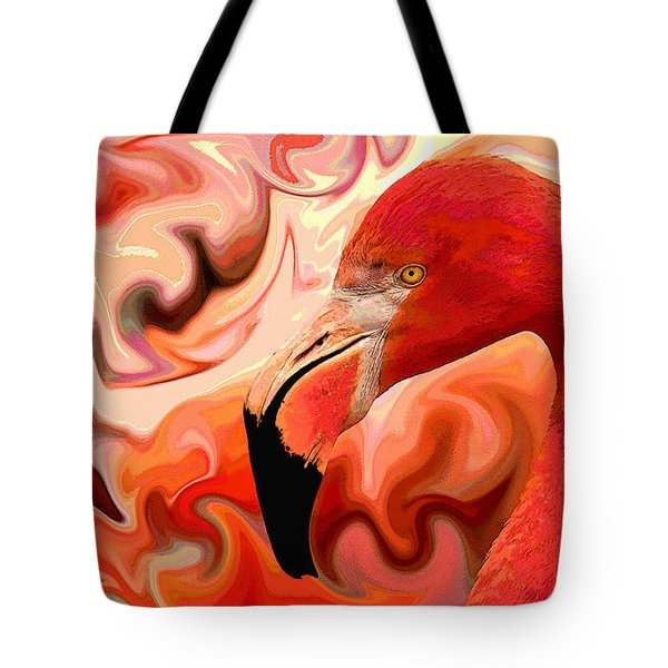 Tote Bag featuring the digital art Flamingoed An Abstract In Pink by Shelli Fitzpatrick