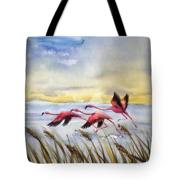 Flamingoes Flight Tote Bag