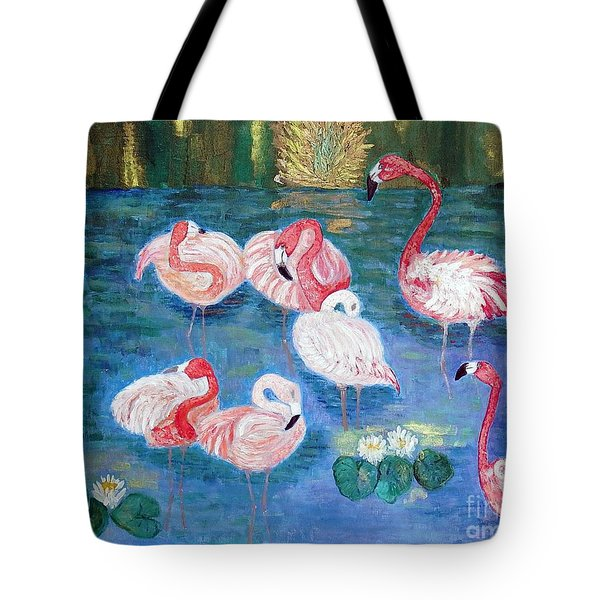 Tote Bag featuring the painting Flamingos Diptich Right by Vicky Tarcau