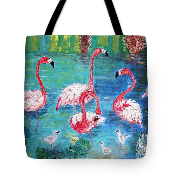 Tote Bag featuring the painting Flamingos Diptich Left by Vicky Tarcau