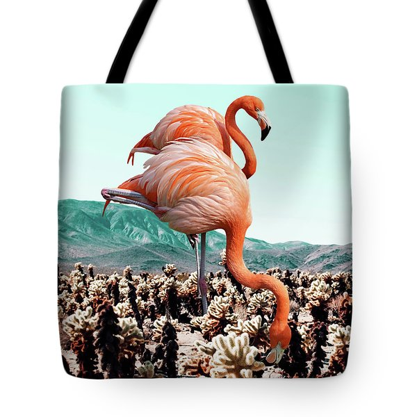 Flamingos In The Desert Tote Bag by Uma Gokhale