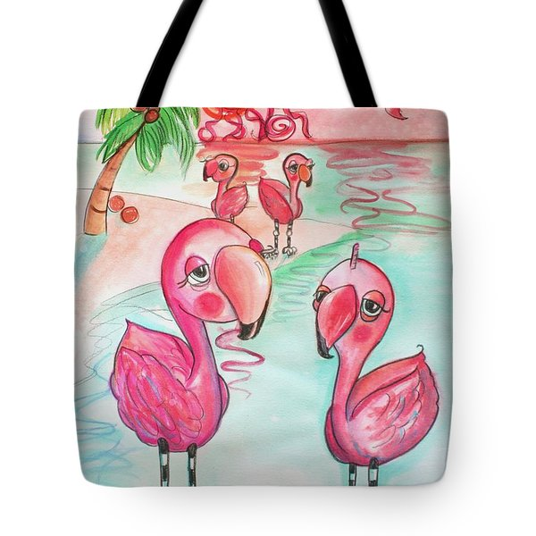 Flamingos In The Sun Tote Bag