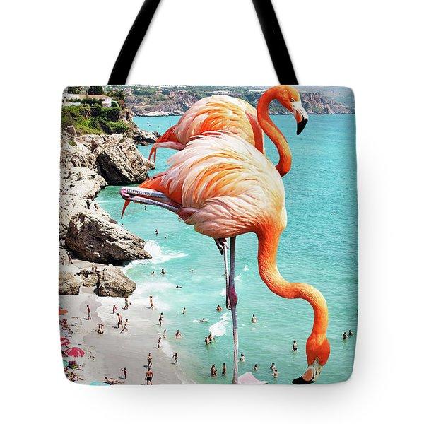 Flamingos On The Beach Tote Bag by Uma Gokhale