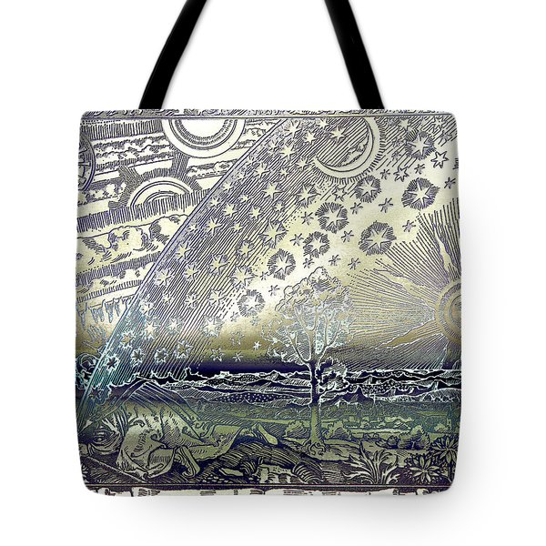 Tote Bag featuring the photograph Flammarion Engraving Colored by Robert G Kernodle