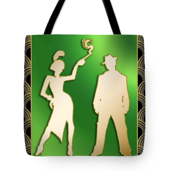 Tote Bag featuring the digital art Flapper And The Gangster by Chuck Staley
