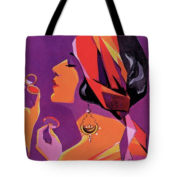 Flapper In A Scarf Applying Makeup, 1923 Tote Bag
