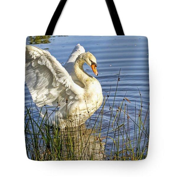 Flapping Wings Mute Swan Tote Bag