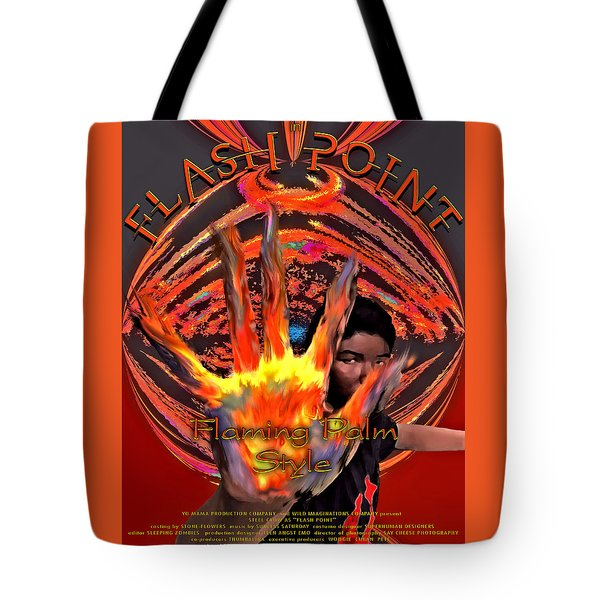 Tote Bag featuring the digital art Flash Point by Iowan Stone-Flowers