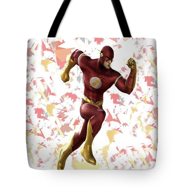 Tote Bag featuring the mixed media Flash Splash Super Hero Series by Movie Poster Prints