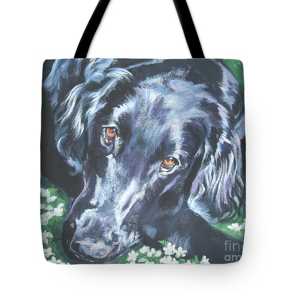 Tote Bag featuring the painting Flat Coated Retriever by Lee Ann Shepard