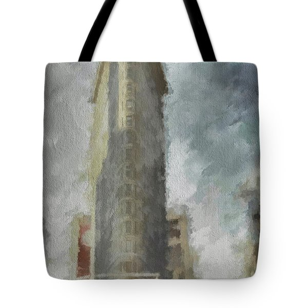 Tote Bag featuring the digital art Flat Iron by Jim  Hatch