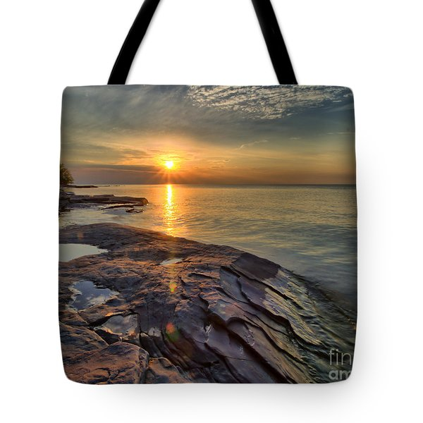 Flat Rock Sunset Tote Bag
