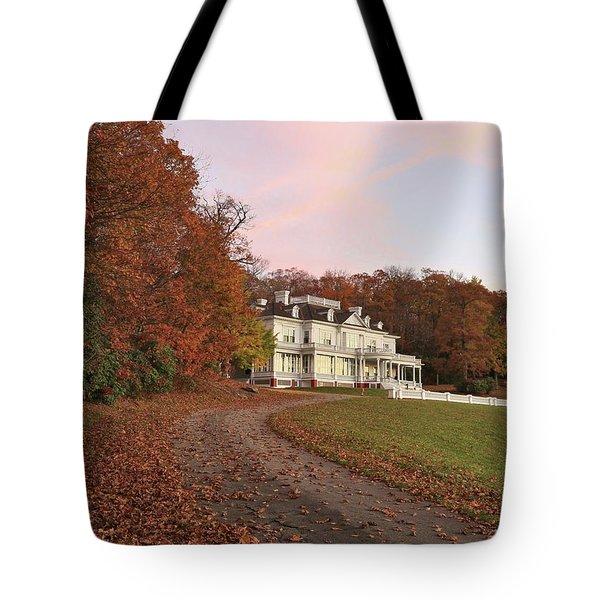 Flat Top Manor At Sunrise Tote Bag