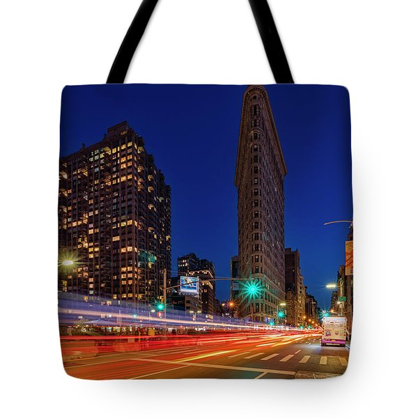 Tote Bag featuring the photograph Flatiron 5th Ave Clock Nyc  by Susan Candelario