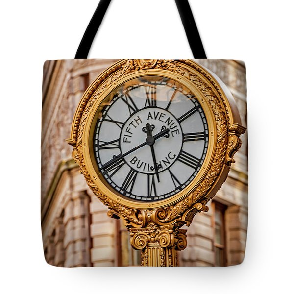 Tote Bag featuring the photograph Flatiron And Fifth Ave Clock Nyc  by Susan Candelario