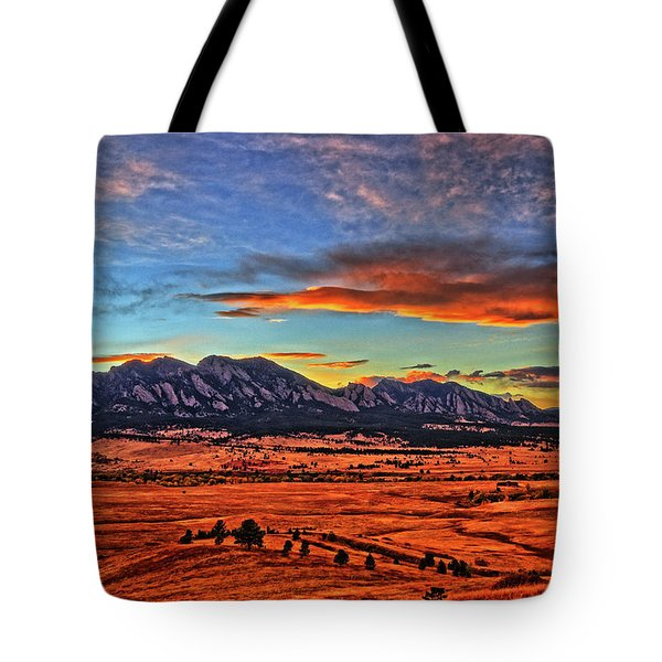 Tote Bag featuring the photograph Flatiron Sunset Fire Red by Scott Mahon