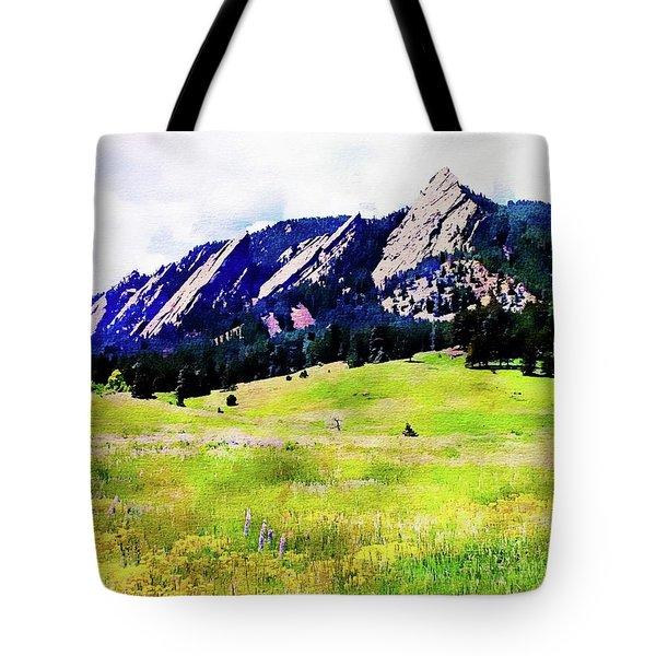 Tote Bag featuring the digital art Flatirons - Boulder, Colorado by Joseph Hendrix