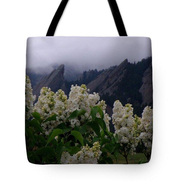 Flatirons White Lilacs Tote Bag