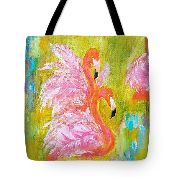 Tote Bag featuring the painting Flaunting Feathers by Judith Rhue