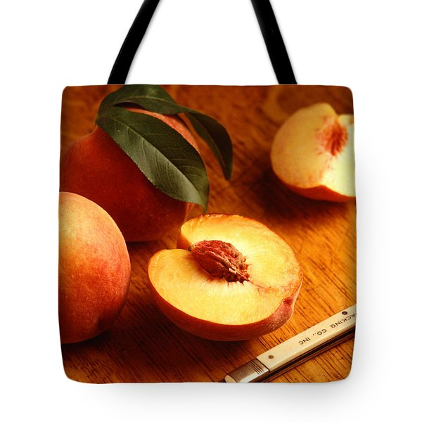 Flavorcrest Peaches Tote Bag by Photo Researchers