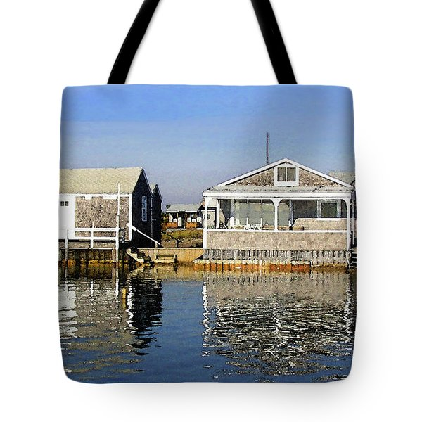 Tote Bag featuring the photograph Fletchers Camp And The Little House Sandy Neck by Charles Harden