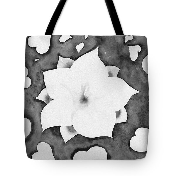 Tote Bag featuring the painting Fleur Et Coeurs Monochrome by Marc Philippe Joly