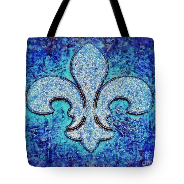 Fleur De Lis Blue Ice Tote Bag by Janine Riley