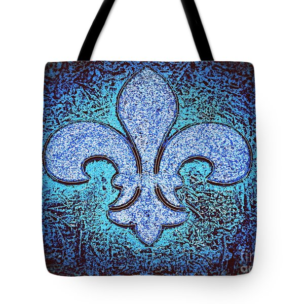 Fleur De Lis - Crystal Blue Ice On Black Tote Bag