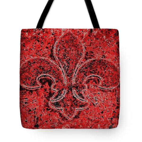 Fleur De Lis Red Ice Tote Bag