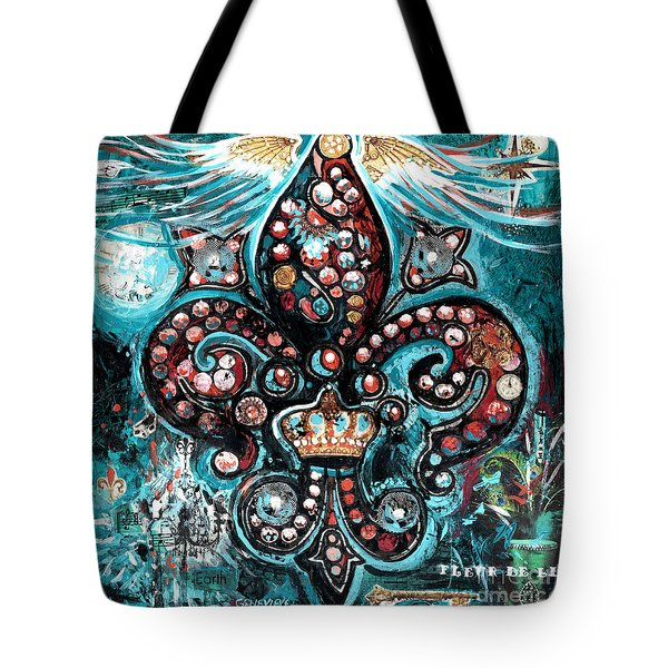 Tote Bag featuring the painting Fleur De Lis Steampunk Style by Genevieve Esson