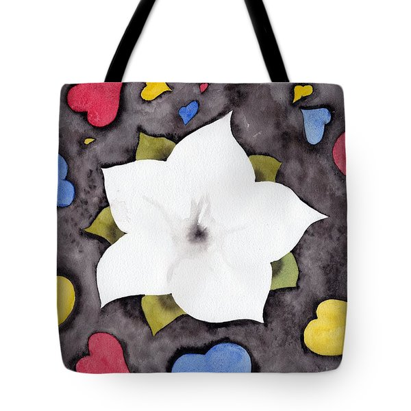 Tote Bag featuring the painting Fleur Et Coeurs by Marc Philippe Joly