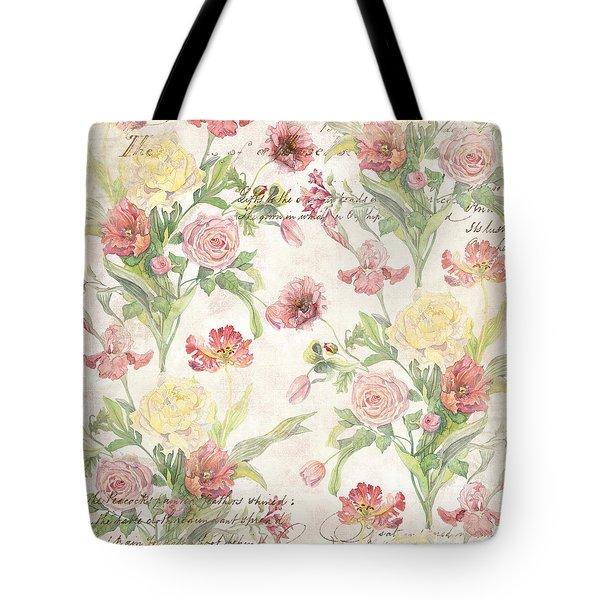 Fleurs De Pivoine - Watercolor In A French Vintage Wallpaper Style Tote Bag