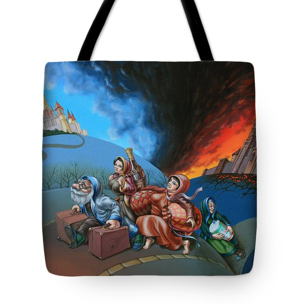 Flight Of Lot Out From Sodom Tote Bag