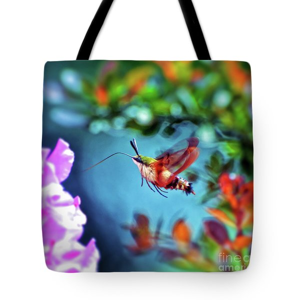 Tote Bag featuring the photograph Flight Of Mystery - Hummingbird Moth by Kerri Farley