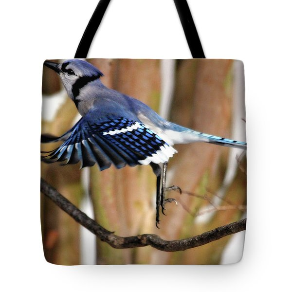 Flight Of The Blue Jay Tote Bag
