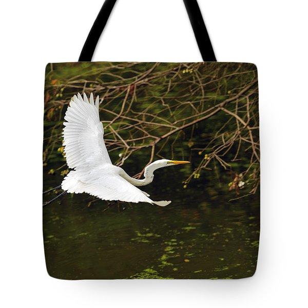 Flight Of The Egret Tote Bag