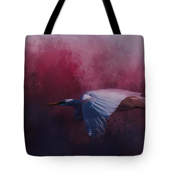 Flight Of The Egret Tote Bag