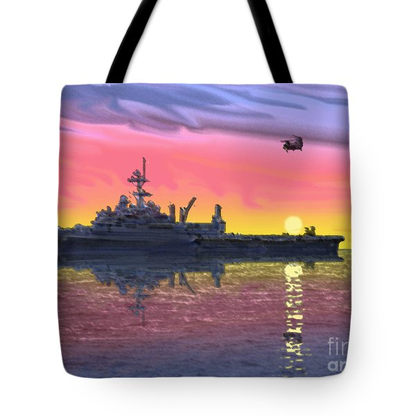 Flight Ops At Sunset Tote Bag by Donald Maier