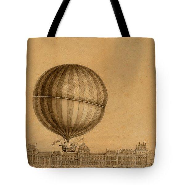 Flight Over Paris Tote Bag