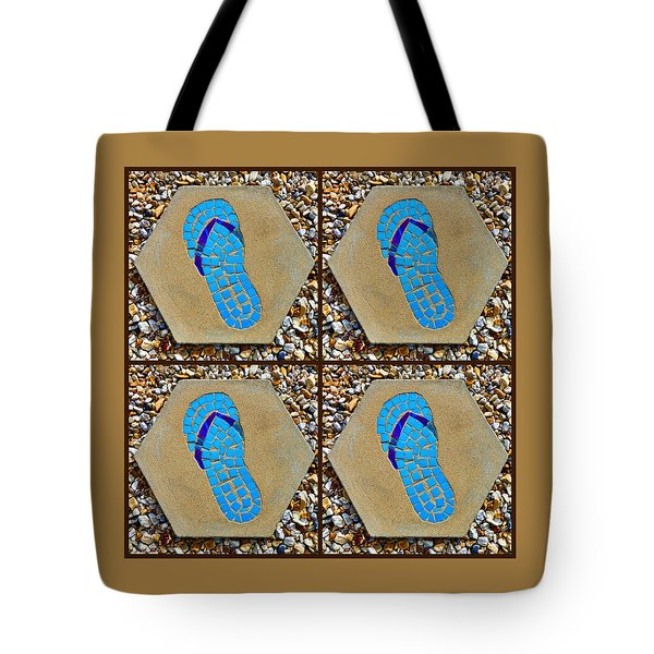 Flip Flop Square Collage Tote Bag
