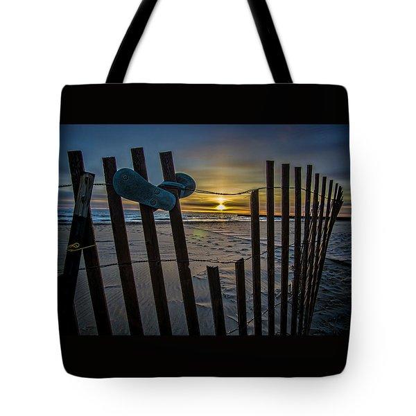 Flip Flops On A Beach At Sun Rise Tote Bag