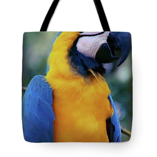 Flirtacious Macaw Tote Bag by DigiArt Diaries by Vicky B Fuller