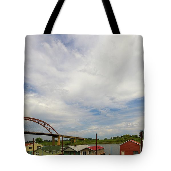 Floating Boat House Living By Sauvie Island Tote Bag by David Gn