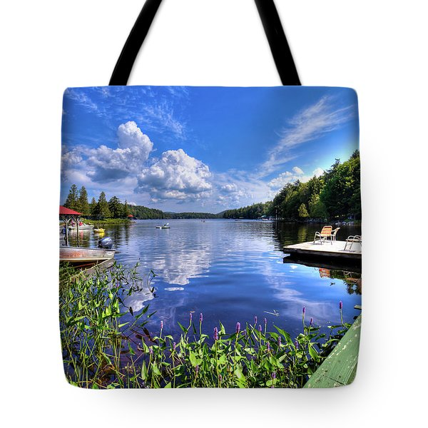 Tote Bag featuring the photograph Floating Bridge At Covewood by David Patterson