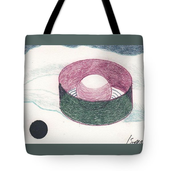 Tote Bag featuring the drawing Floating Can With Black Sun by Rod Ismay