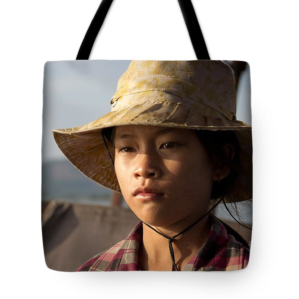 Floating Drink Seller Girl On The Tonle  Sap Lake In Cambodia Tote Bag