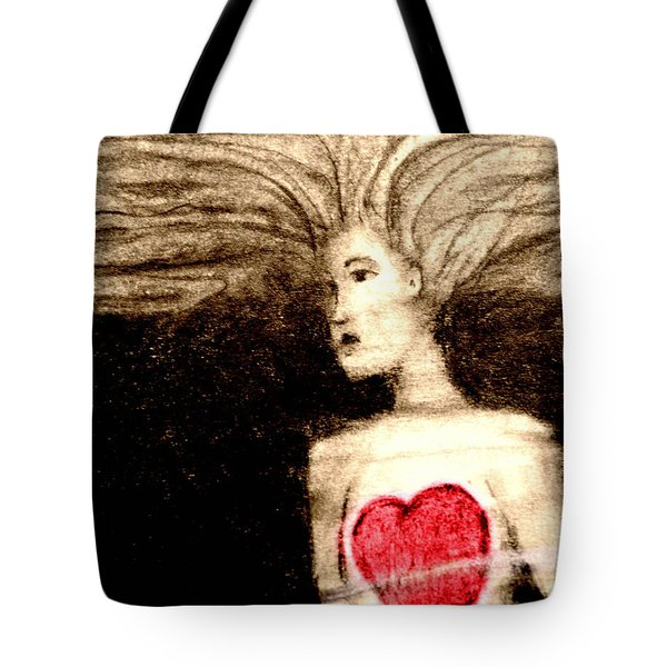 Floating Heart Tote Bag